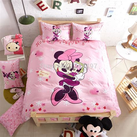 minnie mouse bedding full home textile pink minnie mouse queen full twin size bedding sets bedclothes duvet