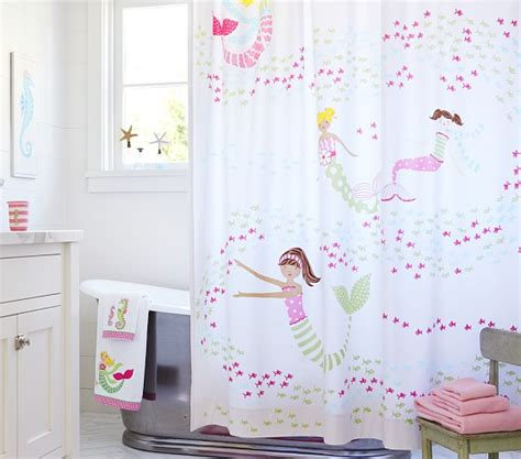 pb kids curtains mermaid shower curtain pottery barn kids