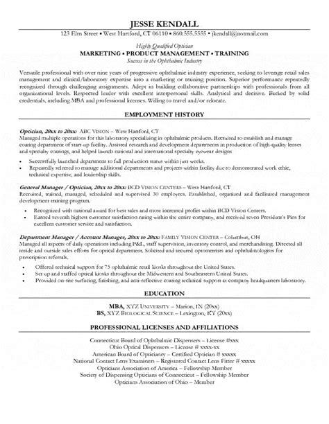 Resume Exles Ophthalmic Technician Optician Resume