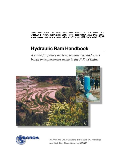 handbook of hydraulics for the solution of hydraulic problems classic reprint books hydraulic ram handbook a guide for policy makers
