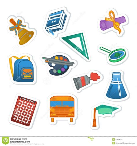 Aufkleber Schule by Back To School Sticker Colorful Set Stock Vector Image