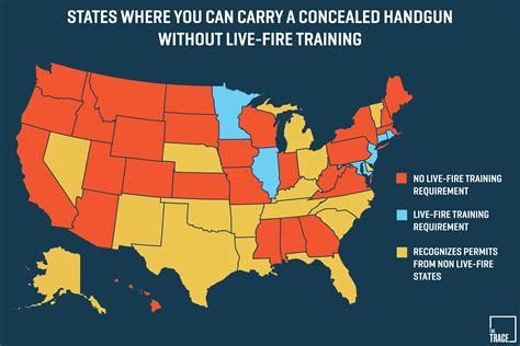 concealed carry usa map these states don t test your shooting skills before