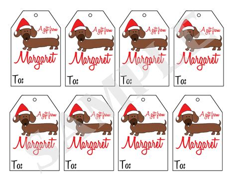 printable dog gift tags printable personalized christmas dachshund dog gift tags