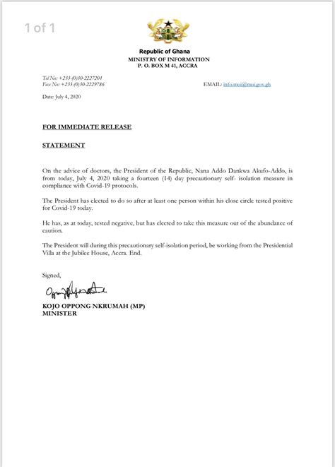 BREAKING: President Akufo-Addo Goes Into Self-isolation
