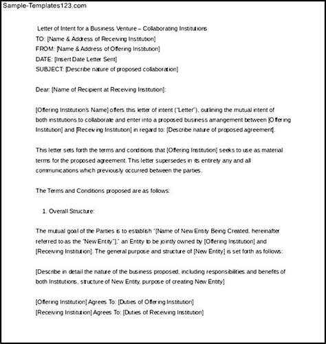 Sle Of Letter Of Intent Doc Business Letter Of Intent Sle Format Word Doc Sle Templates