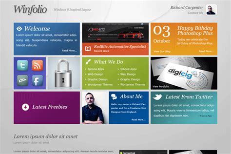 layout features of a website windows 8 inspired portfolio layout