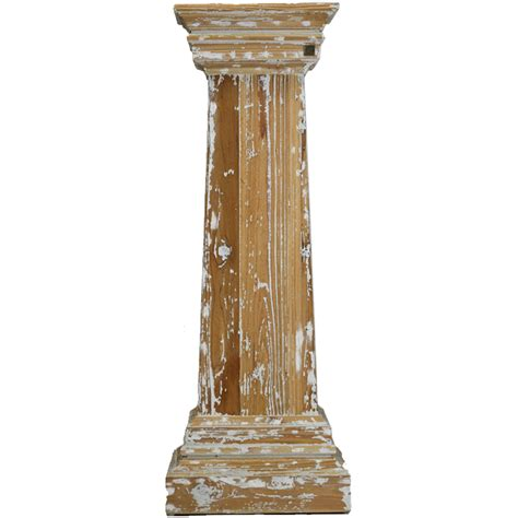 Shabby Chic Vase Distressed Carved Wood Pedestal Stand