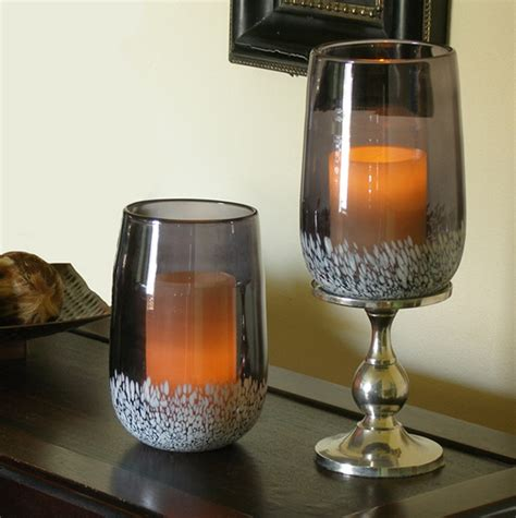 glass hurricane ls savoy flameless candle holder with timer pacific accents