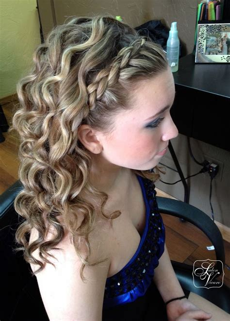 formal side french braid updo french braid quot headband quot medium curls hairstyles