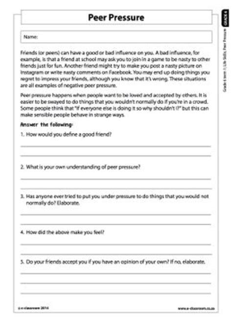 Peer Pressure Worksheets For Middle School by Peer Pressure Worksheets Worksheets Releaseboard Free
