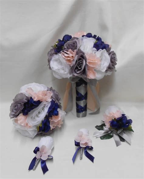 Wedding Bouquet Navy by Wedding Silk Flower Bridal Bouquets 18 Pcs Package White