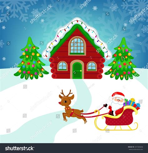 Santa Claus In House by Beautiful Winter Landscape Santa S House Santa Claus In