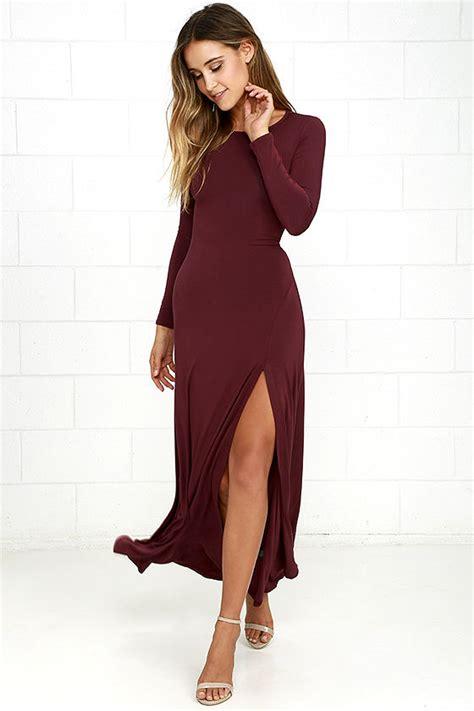 Dress Maroon Jersey chic burgundy dress maxi dress sleeve dress 64 00