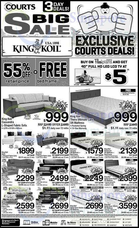king koil sofa kingkoil sofa sets mattresses 187 courts 3 days big sale