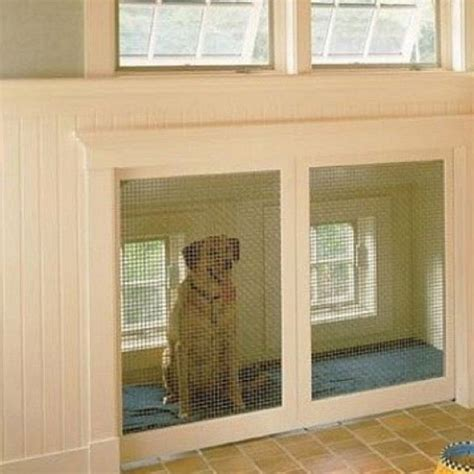 dog kennel in garage built in dog kennel with a doggy door from the outside