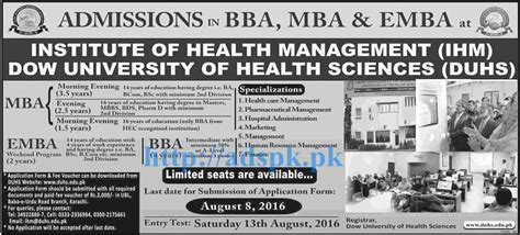 Mba In Healthcare Management In Karachi by New Admissions Open 2016 Institute Of Health Management