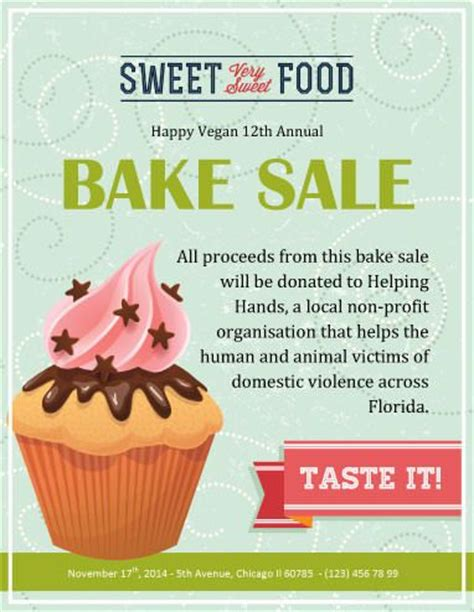 bake sale flyer template free vegan annual bake sale fundraiser flyer