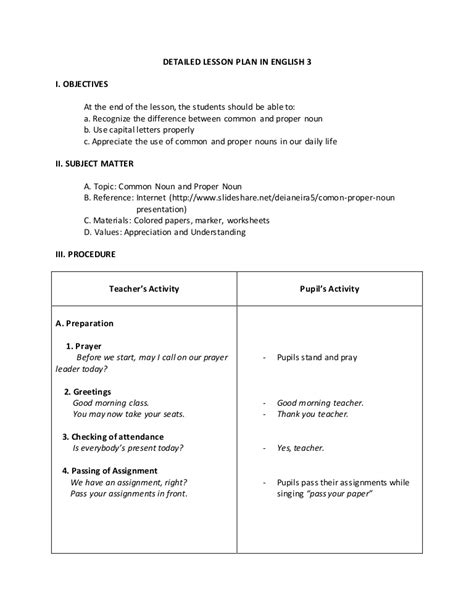 englis lesson plan on hair products proper nouns and common nouns detailed lesson plan