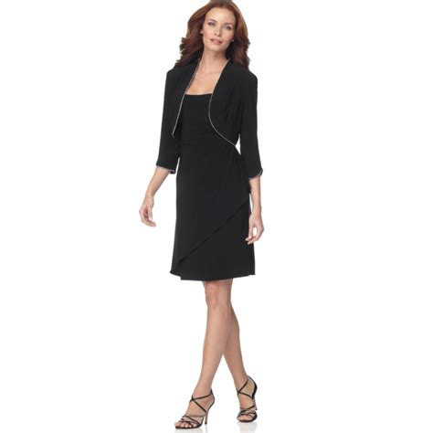 Dress With Jacket alex evenings rhinestone trim cocktail dress with bolero
