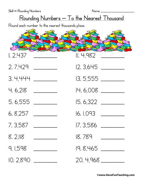 Worksheet Rounding by Rounding To The Nearest Thousand Worksheet Teaching