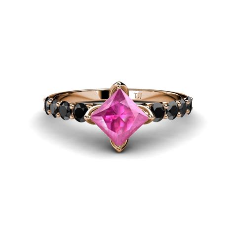 pink sapphire engagement ring black and