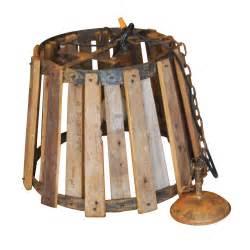 Vintage Wrought Iron Chandelier Vintage Industrial Wood And Metal Hanging Ceiling Lamp Ebay