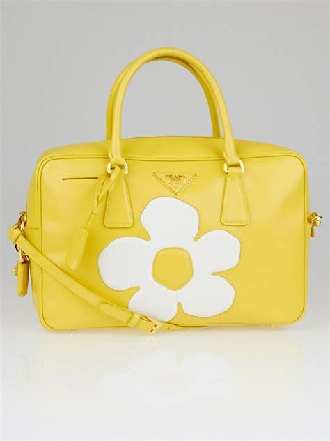 Prada Saffiano Flower prada yellow saffiano vernice patent leather flower top handle bauletto tote bag yoogi s closet