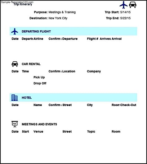 itinerary travel template trip itinerary template excel sle templates