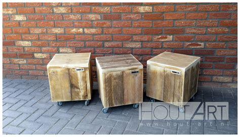 salontafel van steigerhout op wielen salontafels salontafel blok op wielen steigerhout