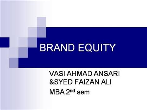 Post Mba Equity by Brand Equity Authorstream