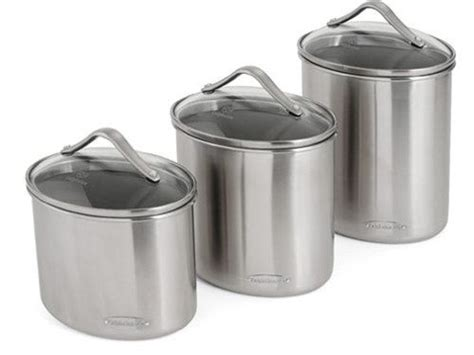 kitchen canister sets stainless steel calphalon 3 pc stainless steel canister set oval at