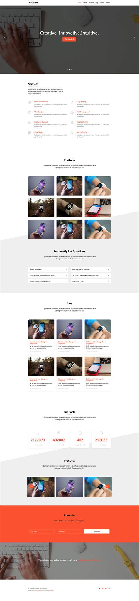 asymmetry free responsive html5 bootstrap one page