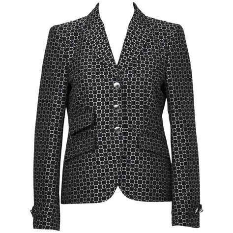Fall 2007 Leather Jackets by Fall 2007 Runway Gucci Black And White Geometric Blazer