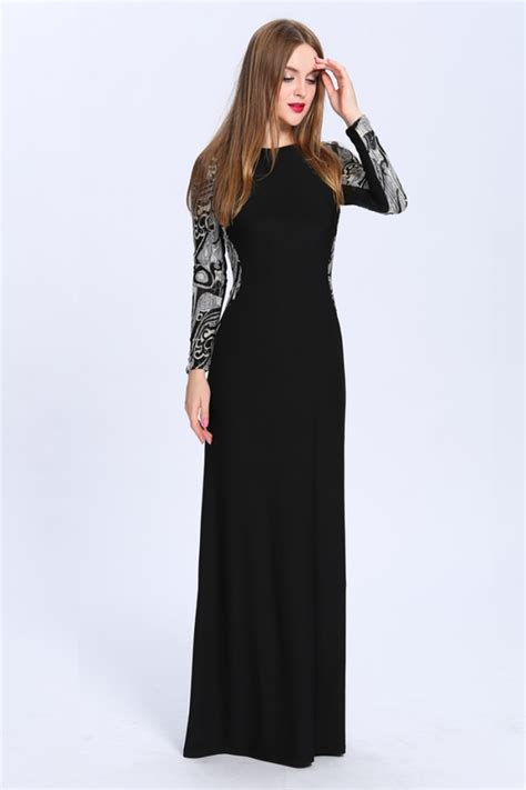 Sleeve Floor Length Black Dress by Floor Length Black Sleeve Formal Dress Evening Gown
