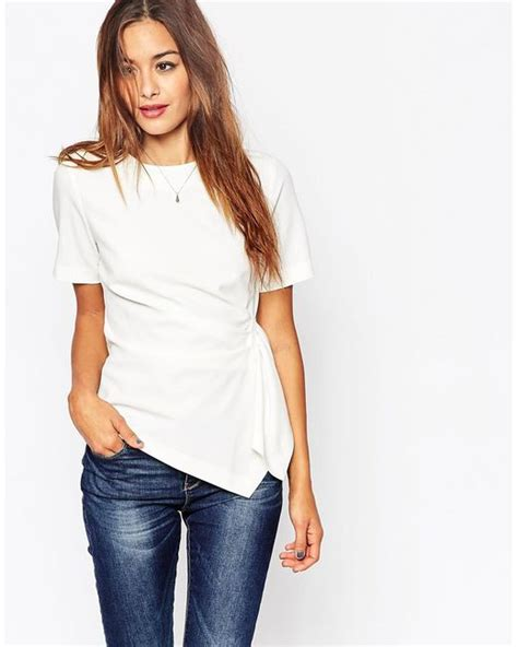 Tshirt Ralph Trl01 Buy Side asos origami t shirt in crepe in white ivory lyst