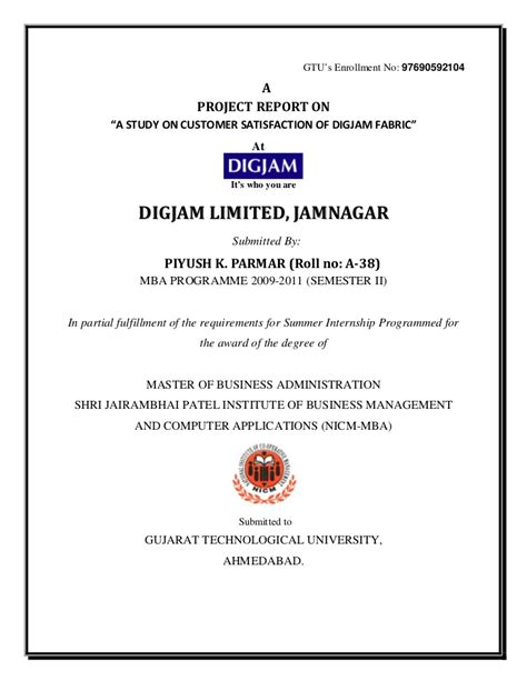Mba Project Report On Industrial Relation Pdf by Report Piyush