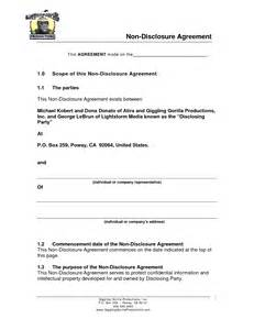 nda form template sle non disclosure agreement template invitation