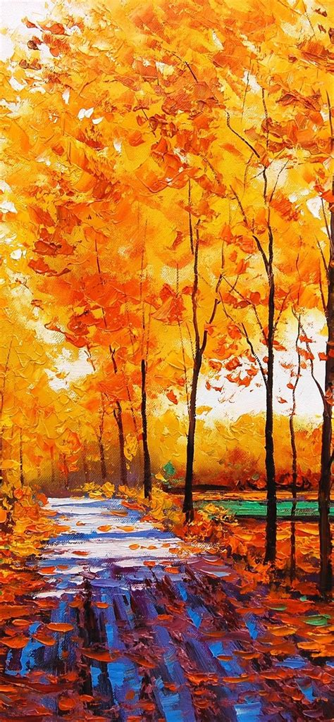 wallpaper art watercolor autumn red maple forest
