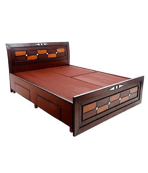 Solid Wood Bed With Storage Solid Wood Double Bed With Storage Buy Online Rs 51589