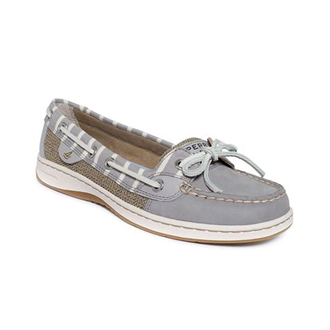 womens sperry top sider angelfish eyelet boat shoe lyst sperry top sider womens angelfish boat shoes in gray