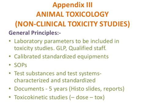 schedule y for toxicity studies