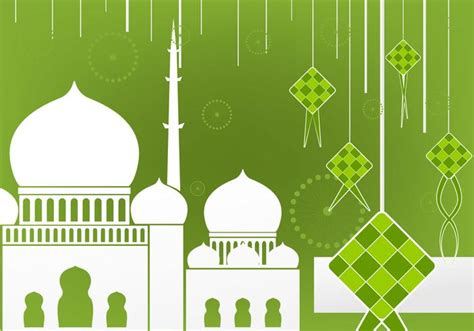 ketupat pattern ai flat design of ketupat and mosque download free vector