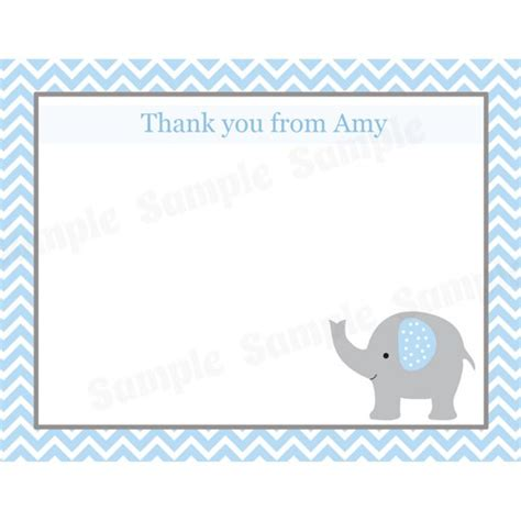 Elephant Thank You Card Template by 20 Baby Shower Thank You Cards Elephant Blue