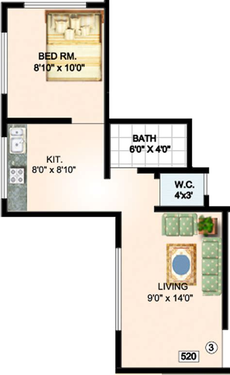 520 sq ft 520 sq ft 1 bhk 1t apartment for sale in tisai krupa construction vaishnavi park kalyan east mumbai