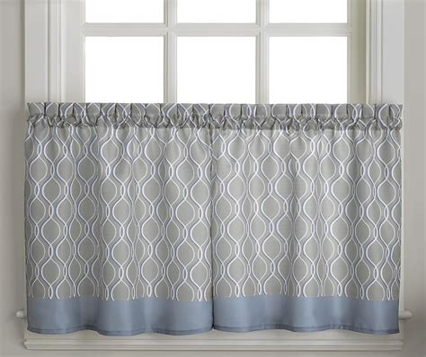 gray tier curtains morocco 36 quot kitchen curtain tier grey linens4less com