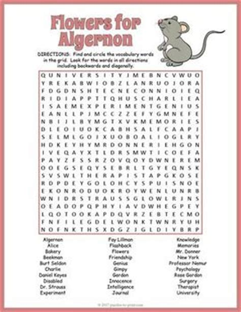 printable flowers for algernon 85 best images about novel study puzzles on pinterest