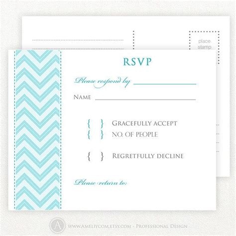printable rsvp card blue chevron printable rsvp card wedding rsvp postcards