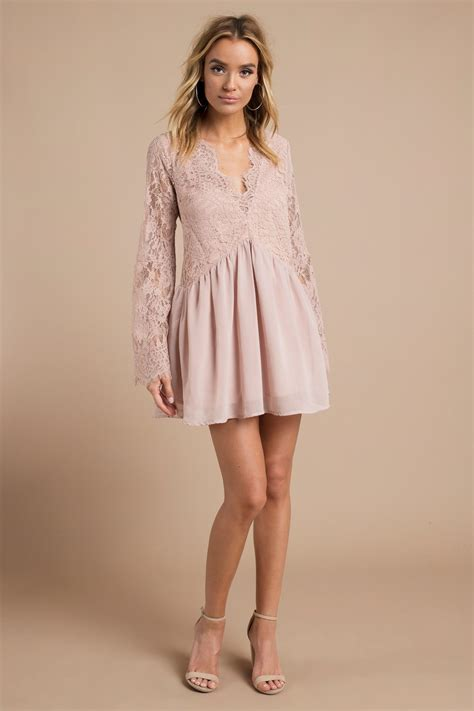 Id Pink Lace Dress blush shift dress pink dress bell sleeve dress half