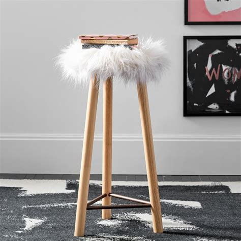 Pottery Barn Faux Fur Stool by Ivory Himalayan Faux Fur Stool Pbteen