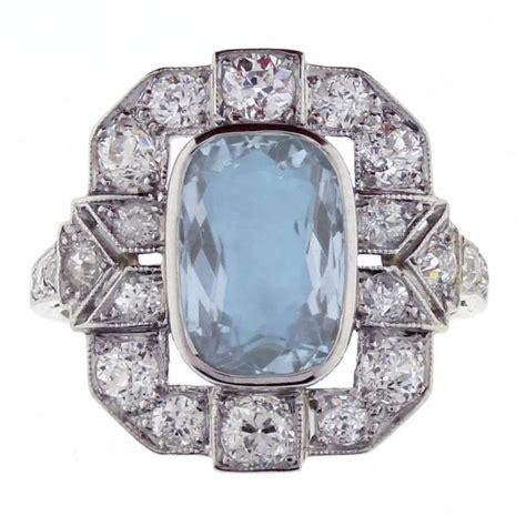 aquamarine deco ring deco aquamarine platinum ring at 1stdibs